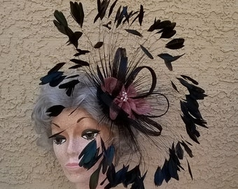 Black Iridescent Coque Feather Fascinator with Pink Sinamay Flower, Sinamay Loops, Freshwater Pearls - Races Special Occasion Hat