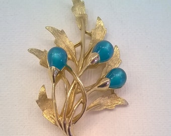 Emmons Green Brooch - Vintage Goldtone and Blue Green Branches Leaves Leaf Brooch Pin