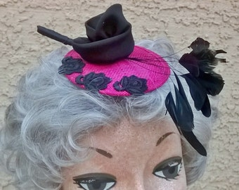 Fuchsia and Black Fascinator with Black Coque Feathers, Silk Rose, and Flower Appliques - Head Piece Hair Accessory Bridesmaid Races Hat