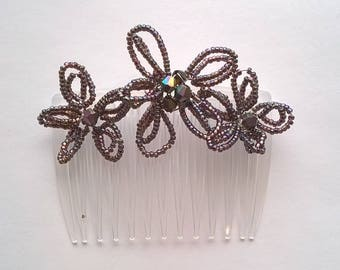 Purple French Beaded Flowers Hair Comb - Aurora Borealis Sparkle Beads - Bridesmaid, Prom, Quinceanera  Hair Accessory