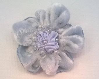 Blue Velvet Ribbon Flower with Aurora Borealis Beads and Baby Blue Silk  Center on Alligator Hair Clip - Bridal, Wedding, Bridesmaid, Prom
