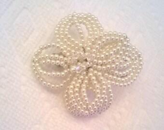 Ivory Pearl Bead French Beaded Flower Hair Barrette - Wedding, Bridal, Prom Hair Accessory