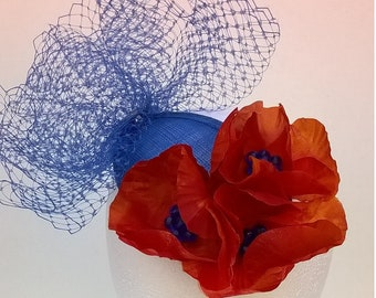 Blue and Orange Fascinator with Handcrafted Orange Silk Poppies with Blue Glass Beads - Head Piece Hair Accessory Bridesmaid Races Hat