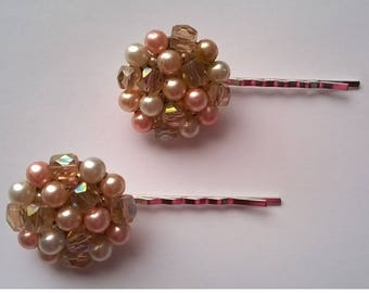 Peach Faux Pearl and Crystal Beads on Two Silverplated Bobby Pins - Wedding, Bridesmaid, Prom, Quinceanera  - OOAK Hair Accessory