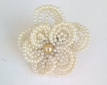 Ivory Pearl Bead French Beaded Flower Hair Clip  - Wedding, Bridal, Prom Hair Accessory