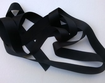 """Black 100% Silk Double-Faced Satin Ribbon - 18mm  (.7"""" - about 3/4"""") Ribbon - Sold by the Yard"""