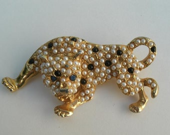 Vintage Goldtone Metal Leopard Brooch  with Pearls and Black Glass Beads - 3 Inches Long - Brooch Pin