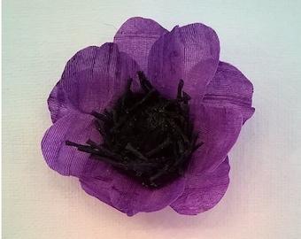 Purple Silk Anemone Flower Hair Clip with Black Center - Silverplated Pinback - 2 1/4 Inch Diameter Genuine Silk Flower