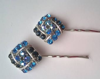 Blue Rhinestone Jewels on Two Silverplated Bobby Pins - Wedding, Bridesmaid, Prom, Quinceanera  - OOAK Hair Accessory