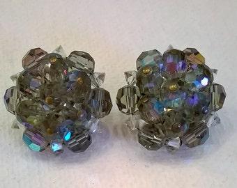 Vintage AB Gray Crystal Earrings - 1950s Aurora Borealis Grey Clip Earrings
