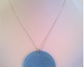 Aqua Blue Capiz Shell on Delicate Sterling Silver Chain - 2 Inch Round Pendant - Spring Summer Necklace