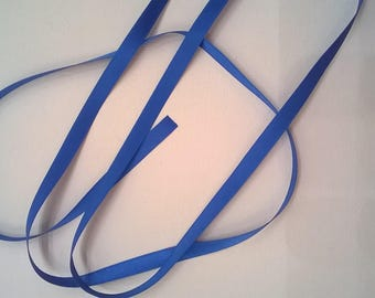 Bright Blue Silk Satin Ribbon, Double-Faced - 1/4 Inch - 6mm - Sold by the Yard