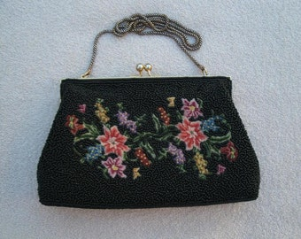 Vintage Black Glass Beaded and Petit Point Purse - Beaded Evening Bag