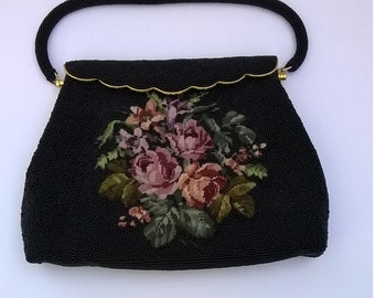 Vintage Black Beaded and Floral Needlepoint Purse - Glass Beads and Flowers  Handbag - Evening Bag - Made in Hong Kong
