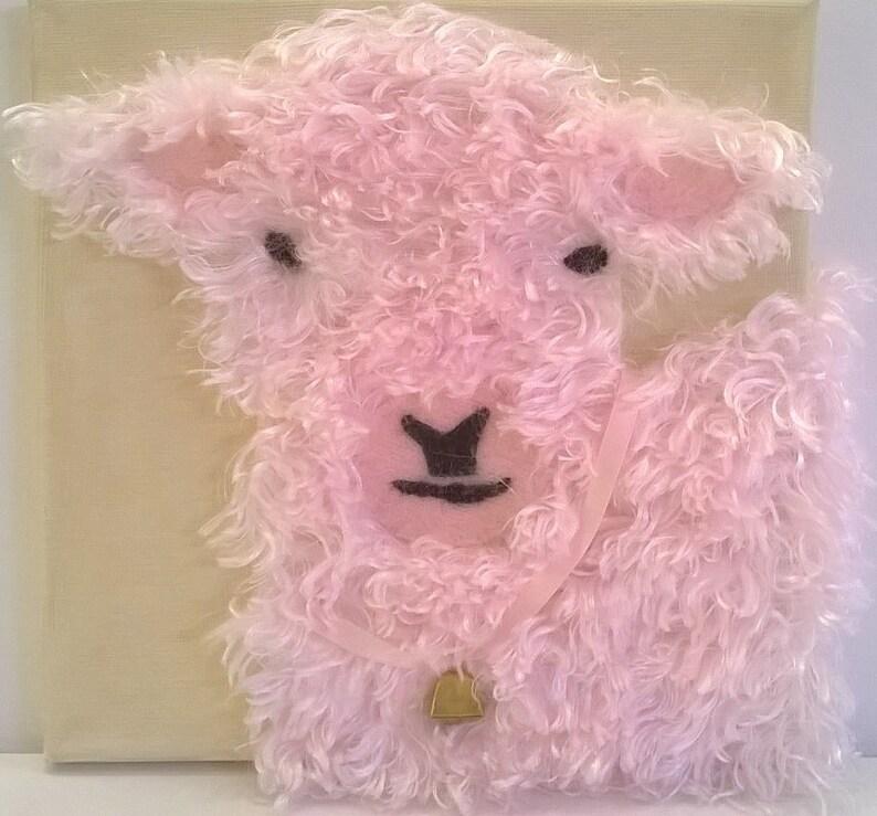 Pink Lamb Picture  Textile Mixed Media Artwork  8 x image 0
