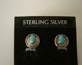 Vintage Turquoise and Sterling Silver Earrings - Western Southwestern Style - 1950s Screwback Earrings