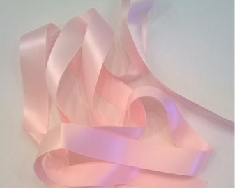 """18mm Blush (Light Pink) 100% Silk Double-Faced Satin Ribbon - 18mm (.7"""" - about 3/4"""") - Ribbon - Sold by the Yard"""