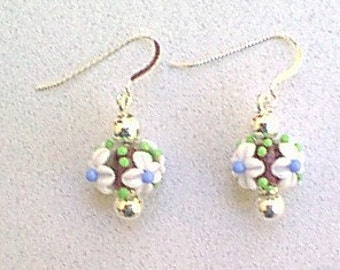 Floral Lampwork Bead and Sterling Silver Earrings - White, Blue, Green Glass Bead Earrings with French Hook Earwires for Pierced Ears
