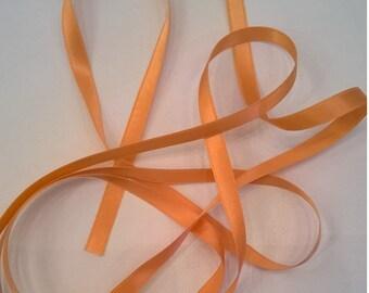 Pumpkin (Light Orange) Silk Satin Ribbon, Double-Faced - 1/4 Inch - 6mm - Fashion, Craft, Lingerie Ribbon