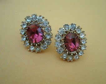 Sparkling Pink and Clear Rhinestone Earrings - Screwback Style - Vintage RS Holiday Party Occasion Earrings