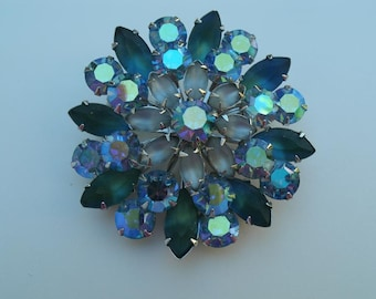 Blue and Green  Rhinestone Brooch  - Coro Vintage 1960s 2 1/4 Inch RS Brooch Pin