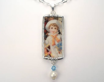 Broken China Necklace Sailor Boy Christmas Pendant Handcrafted Jewelry by Charmedware