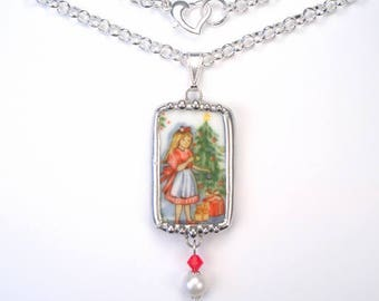 Broken China Jewelry Young Girl with Christmas Tree Necklace Handcrafted by Charmedware