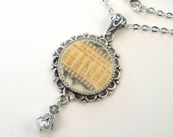 Broken China Necklace January Pendant Handcrafted Jewelry by Charmedware