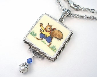 Broken China Jewelry Dressed Squirrel Square Pendant Necklace Vintage Charm Porcelain Ceramic Art Jewelry by Charmedware