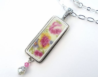 Broken China Necklace Pink Rose & Peony Floral Charm Pendant Necklace Vintage Porcelain Ceramic Jewelry by Charmedware