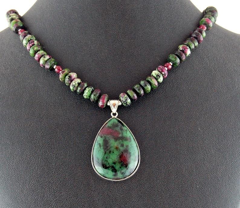 Ruby Ziosite  Ruby Designer Gemstone Pendant Necklace