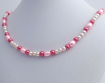Pretty in Pink Glass Bead Necklace, Raspberries and Cream Necklace Beaded Necklace