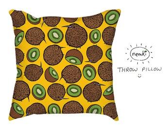 Kiwi Pillow Cute Kiwi Design Kiwis Kiwi Fruit Kiwi Gifts Cute Kiwi Pattern Fruit Cushion Fruit Pillow Fruit Housewarming