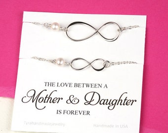 Mother daughter infinity bracelet set,pearl bracelet,mother of groom gift,Mother in law gift,sisters gift,mother's day gift,cutsom note card