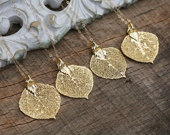 15% OFF,set of 6,Baby Aspen leaf,Gold or Silver,Leaf necklace,bridesmaid gifts,Autumn fall wedding,wedding jewelry