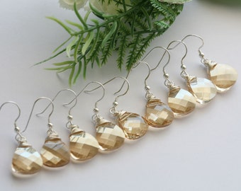 10%,Set of 4,Swarovski Golden Champagne,Bridesmaid earrings,Bridal jewelry set,Swarovski Crystal,Sterling silver,wire wrapped