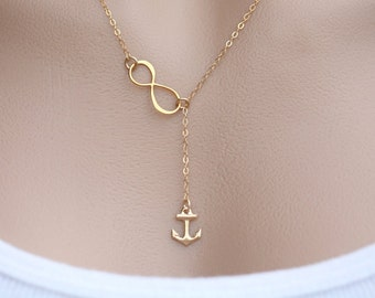 Gold infinity Anchor Lariat Y necklace,Anchor necklace,Beach wedding,infinity necklace,bridesmaid gifts,Navy,Personalized,figure eight charm