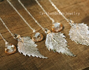 Set of 3,Real birch Leaf necklace,Swarovski Gold champagne crystal,sterling silver,gold filled,bridesmaid gift,Fall wedding jewelry gift
