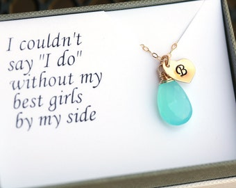 10% OFF,Set of 4,Bridesmaid gifts, Thank you card with necklace,Monogram Necklace,Personalized,Heart necklace,wedding Jewelry