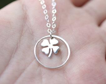 Sterling silver enternity Four leaf clover necklace,shamrock necklace, Best friend gift,graduation gift,sisterhood,birthday gift