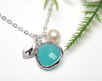 Personalized bridesmaid necklace,leaf initial necklace,custom monogram,custom birthstone,wedding bridal jewelry,flower girl gift,best friend