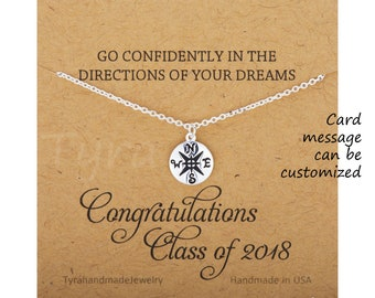 Life journey Compass necklace with graduation card,Congratulation Graduation Gifts,compass charm,sisterhood,BFF, sisters gift, class of 2017
