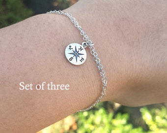 Set of 3,Compass bracelet,silver or gold,friendship bracelet,bridesmaid gift,graduation gift,guidance bracelet,lost without you,custom note