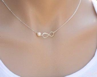 Infinity pearl necklace,friendship necklace,eternity infinity,bridesmaid gift,custom birthstone,sisterhood gift,personalized note card