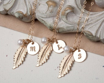 Set of 3,Feather charm Necklace,Feather pendant,Monogram necklace,long leaf,Fall Autumn Wedding,Bridesmaid Gifts,wedding jewelry