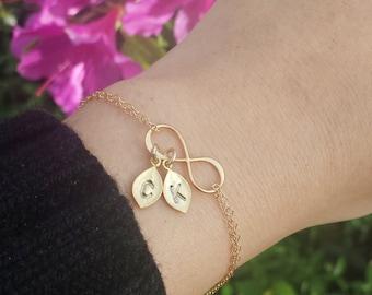 Mother's day gift,initial bracelet,monogram leaf infinity bracelet,Mother bracelet,Mother of groom,Gift for mom,grandma bracelet,nana gift