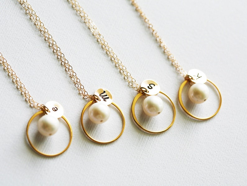 Set of 4,Karma Pearl necklace,Bridesmaid initial necklace,stamped custom monogram tag,Eternity Circle,Bridesmaid gift,Wedding party Jewelry