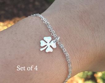 SALE,Set of 4,Four leaf clover bracelet,shamrock bracelet,silver or Gold shamrock,Best friend gift,graduation gift