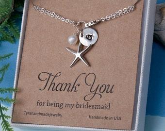10% OFF,Set of 3,Starfish bracelet with note card,Personalized starfish bracelets,Pearl starfish,Beach theme,Wedding jewelry,Bridal jewelry