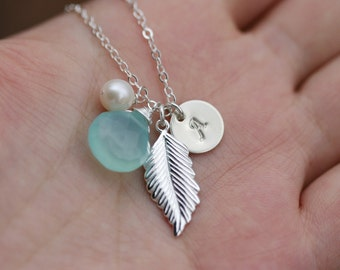 Personalized Necklace,Sterling silver Feather Necklace,Long leaf,Personalized ,Bridal Wedding Jewelry,Fall Autumn Wedding,Bridesmaid